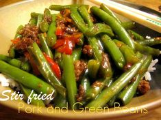 Asian style stir fried pork and green beans