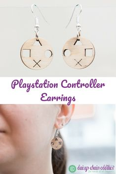 These earrings are inspired by a playstation controller and the perfect gift for a gaming nerd (yourself? They are handmade of wood and silver colored metal. Photo by Martina Pöll Cut Out Design, Daisy Chain, Contemporary Home Decor, Geek Chic, Silver Color, Playstation, Gift Guide, Washer Necklace, Nerd