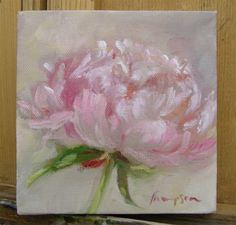 Pink Peony Flower small original oil painting by traciethompson