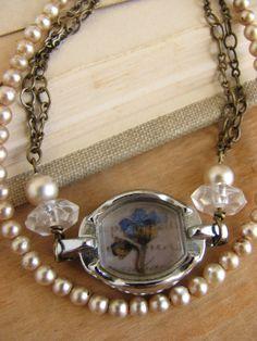 Shabby Chic Forgetmenot Flower Bracelet pressed