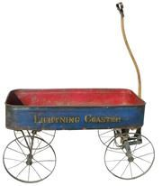 Child's antique wagon.  Learn about your collectibles, antiques, valuables, and vintage items from licensed appraisers, auctioneers, and experts at BlueVault. Visit: http://www.bluevaultsecure.com/roadshow-events.php