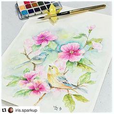#Repost @iris.sparkup ・・・ @primamarketinginc #watercolorwithprima challenge day 2! Come join us!! Prima watercolor confections on Fabriano paper....