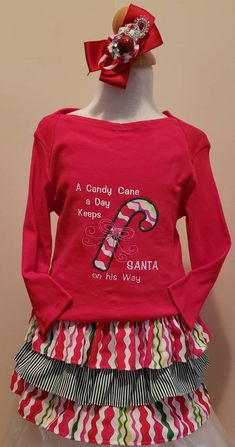 Items similar to Adorable Girl's Christmas Top and Skirt Set with matching Hairbow Candycane Theme on Etsy Christmas Tops, Christmas Sweaters, Ruffle Skirt, Ruffles, Cute Candy, Shark Tank, Handmade Design, Cute Girls, Hair Bows