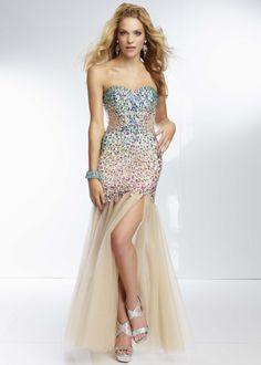 Mori Lee 95022 - Stardust Strapless Beaded Sheer Prom Dresses Online #thepromdresses