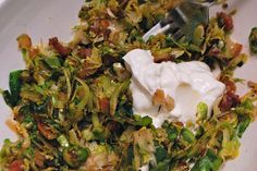 Sweet and Sour Brussels Sprouts Hash. Serves 2. Yummy!