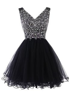 Princess V-neck Tulle Homecoming Dress, Black Crystal Short Homecoming Dress, Cute Mini Homecoming Dress with Pleats, sold by VanessaWu. Shop more products from VanessaWu on Storenvy, the home of independent small businesses all over the world. V Neck Prom Dresses, Dresses Short, Black Prom Dresses, Dresses For Teens, Pretty Dresses, Homecoming Dresses, Beautiful Dresses, Evening Dresses, Formal Dresses