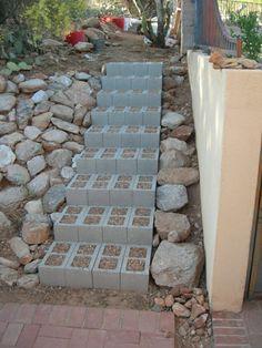 gartentreppe mit betonsteine