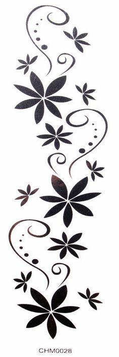 Waterproof Black Tattoo Stickers Flowers Sexy Arm (Waist / Chest / Back . - Waterproof black tattoo stickers sexy arm flowers (waist / chest / back / shoulder / hand / leg, et - Ankle Tattoo Designs, Temporary Tattoo Designs, Tattoo Designs For Women, Tattoo Son, Diy Tattoo, Back Tattoo, Chest Tattoo, Stencil Patterns, Stencil Designs