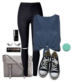 """""""Blue outfit"""" by siara2021 ❤ liked on Polyvore featuring WithChic, Alice + Olivia, Converse, Forever 21, Chanel and Jin Soon"""