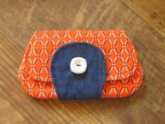 Women's Wallet Small Ladies Handmade Orange by thimblythebest, $15.20