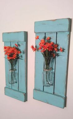 These would be perfect in my bedroom! Large Rustic Sconces, Shutters with Vase, Rustic Shutters, Rustic Wall Decor, Flower Holders, Shabby Chic Sconces, Rustic Home Decor, Bedroom decor, living room wall decor, dining room, Farmhouse decor, #ad