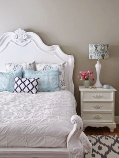 gorgeous bed and side table