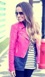 jaqueta de couro rosa para inverno