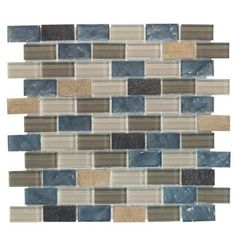 Jeffrey Court, Heritage Ocean Brick 13.375 in. x 11.75 in. Glass and Quartz Mosaic Wall Tile, 99656 at The Home Depot - Tablet