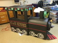 Cardboard train polar express library display