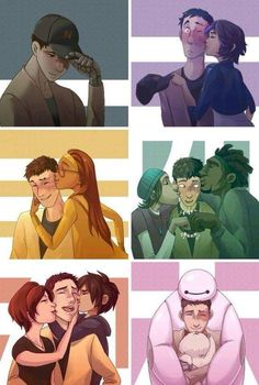 """i love his face when wasabi and fred kiss him like """"omgomgomgomg"""" he's just in shock and all blushy blushy and it's so cu t ee>>> I think he just realized he's gay Disney Pixar, Disney Marvel, Disney Memes, Disney Fan Art, Disney And Dreamworks, Disney Cartoons, Hiro Big Hero 6, The Big Hero, Big Hero 6 Tadashi"""