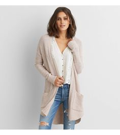 Light Pink AEO Long Pocket Cardigan