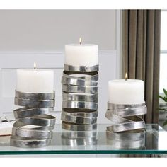 Tamaki Silver Candleholders (Set of 3) | Overstock.com Shopping - Great Deals on Candles & Holders