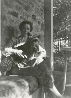 Daisy Suckley and Fala, the dog she gave FDR, at Top Cottage during the summer of 1941. This photo was taken by President Franklin D. Roosevelt. (FDR Presidential Library  Museum)
