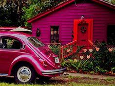 cabin with vw beetle. cute getaway!