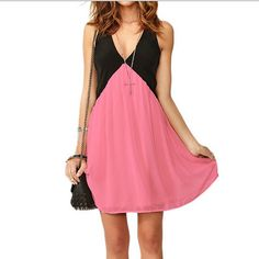 Sleeveless Pure Color Spicing V-neck Short Dress