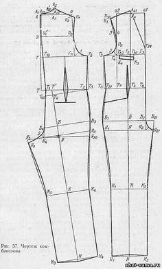 Pattern for Jumpsuit. Jumpsuit Pattern, Pants Pattern, Fashion Sewing, Fashion Fabric, Dress Sewing Patterns, Clothing Patterns, Crochet T Shirts, Bodice Pattern, Sewing Blouses