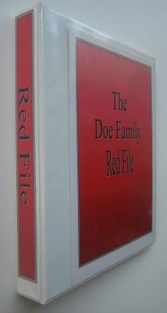 Emergency Kits - Red File- all your important documents, what, why, how