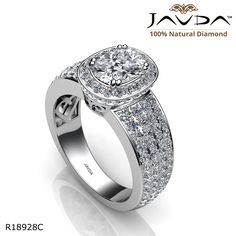 4 Row Shank Circa Halo Cushion Diamond Engagement Ring 14k White Gold.