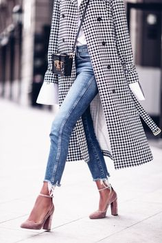 OMG! This whole outfit...frayed jeans, long white cuffs, pink velvet shoes, interesting crossbody small box purse, and this amazing checked trench coat. PERFECTION. The VivaLuxury | Checked
