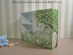 Miniature dollhouse Half Scale Cabinet Shelving Unit 1:12th Scale Child's cabinet chifferobe hand painted tree scene