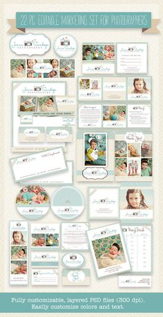 22 PIECE Marketing Set / Photography Marketing Set / Branding Templates, Business Templates/- editable layered PSD - Turquoise and cream