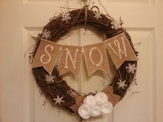 Grapevine Wreath - Snowflake Wreath - Winter Wreath - White Wreath - Holiday Wreath - Door Decor - Burlap Wreath -  Holiday Decor