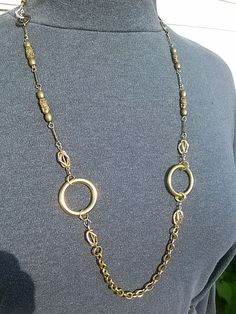 """Mixed gold chains with selected focal links and beads. Designed for layering.  12""""  G332.  $73.00"""