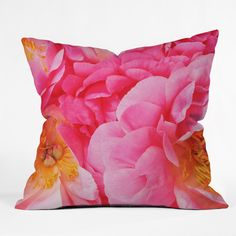 Happee Monkee Hot Pink Peony Throw Pillow | DENY Designs Home Accessories