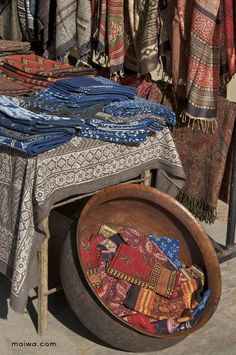 Indian textiles,  hand-dyed, blockprinting   by Maiwa