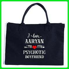 I Love Aaryan My Very Psychotic Boyfriend. Gift For Her - Tote Bag - Totes (*Amazon Partner-Link)