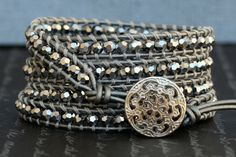 wrap bracelet silver mirror finish faceted crystal by CorvusDesign, $55.00