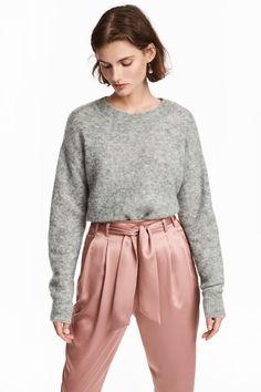 Glesstickad tröja - Gråmelerad - DAM | H&M SE 1