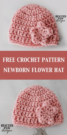 Crochet Newborn Flower Hat || FREE CROCHET PATTERN || Rescued Paw Designs - Newborn Hat Crochet Pattern
