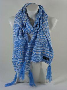 Damenschal Herrenschal blau Norwegerschal Herbst Winter Geschenk Schal Scarf