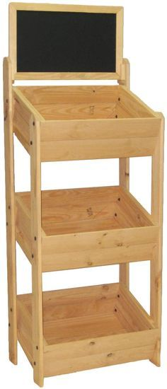 3-Tier Dump Bin, Floor Standing, Pine Wood Frame with Chalkboard Header – Oak
