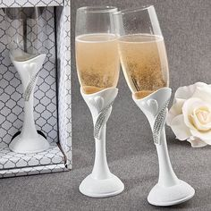 White Scrolled Heart Bling Rhinestone Toasting Flute Set in Gift Box * More info could be found at the image url.