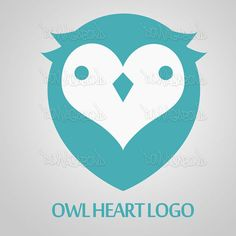 Premade Heart Face Owl Logo by DonVagabond on Etsy, $25.00