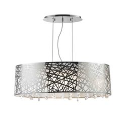 High Gloss Modern 8-light Halogen Chrome Finish Oval Drum Shade with Crystal Chandelier