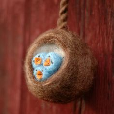 Baby bluebirds in a felted nest