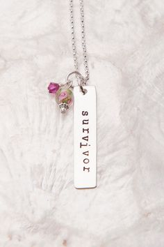 Survivor Necklace Breast Cancer Jewelry Breast Cancer by therhouse Breast Cancer Jewelry, Breast Cancer Survivor Gifts, Breast Cancer Support, Breast Cancer Awareness, Survivor Necklace, Body Jewelry Shop, Stamped Jewelry, Making Ideas, Cure
