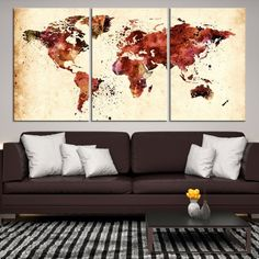27786 - Large Wall Art World Map Canvas Print - Extra Large World Map Wall Art Canvas Print - World Map Wall Art Poster Print