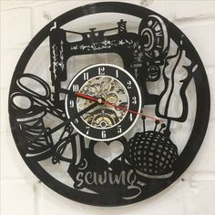 I absolutely love the new clock that was recently given to me as a gift. It looks perfect in the classroom #sewing #sewingshop #sewingclasses