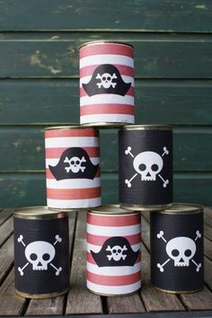 Pirate party can toss.  See more pirate birthday party ideas and birthday parties for kids at www.one-stop-party-ideas.com