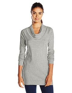 Three Dots Women's Long Sleeve Funnel Neck Tunic